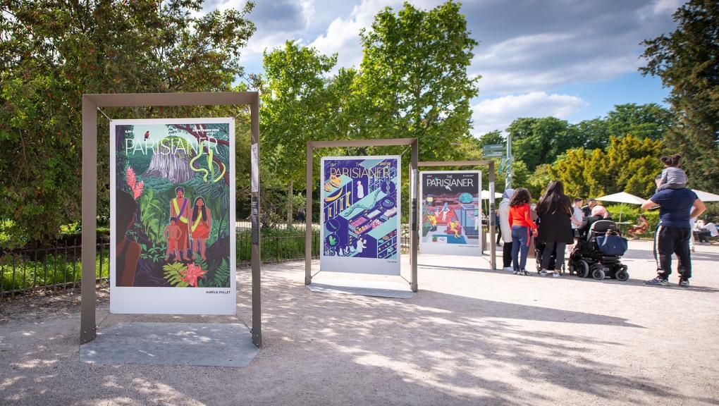"""Trois panneaux du collectif The Parisianer. Exposition """"The Parisianer. Chroniques du Muséum"""" © 10000 lux"""