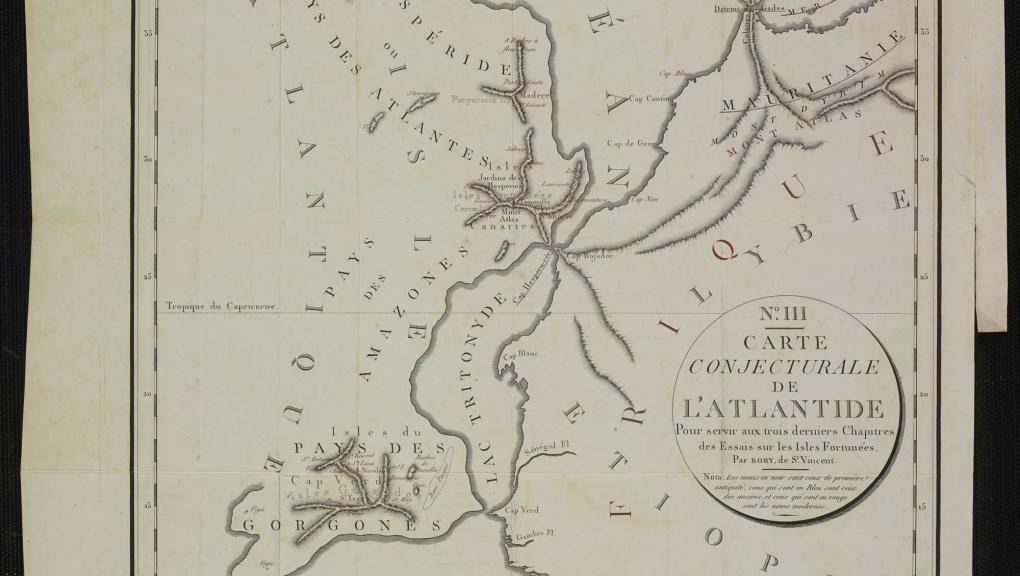 Rencontre Atlantide J.B Bory de Saint-Vincent - Essais sur les isles Fortunées et l'antique Atlantide, 1802 © MNHN