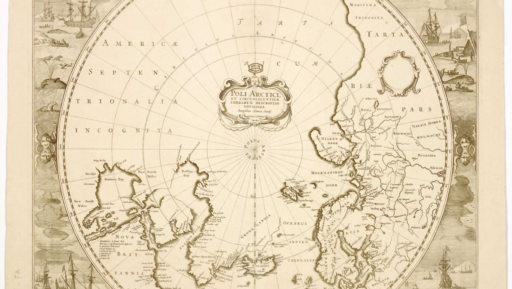 Rencontre cartographie régions polaires Henricus Hondius, Poli arctici, et circumiacentium Terrarum descriptio novissima [16..] © MNHN