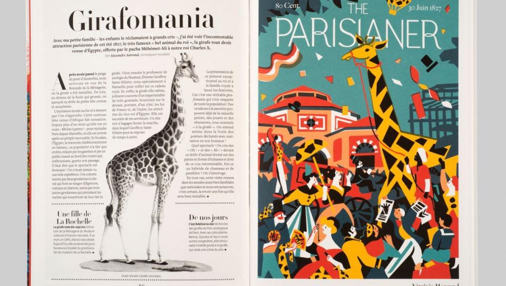 """Ouvrage """"The Parisianer. Chroniques du Muséum"""" © Photo : MNHN - J.-C. Domenech. Illustration : Virginie Morgand. Auteurs : Camille Aulas et François Aulas."""