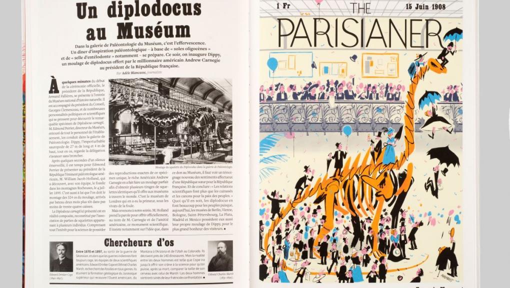 """Ouvrage """"The Parisianer. Chroniques du Muséum"""" © Photo : MNHN - J.-C. Domenech. Illustration : François Maumont. Auteurs : Camille Aulas et François Aulas."""