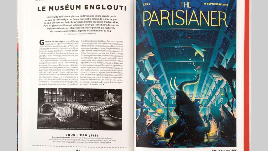 """Ouvrage """"The Parisianer. Chroniques du Muséum"""" © Photo : MNHN - J.-C. Domenech. Illustration : Cruschiform, La vie aquatique. Auteurs : Camille Aulas et François Aulas."""