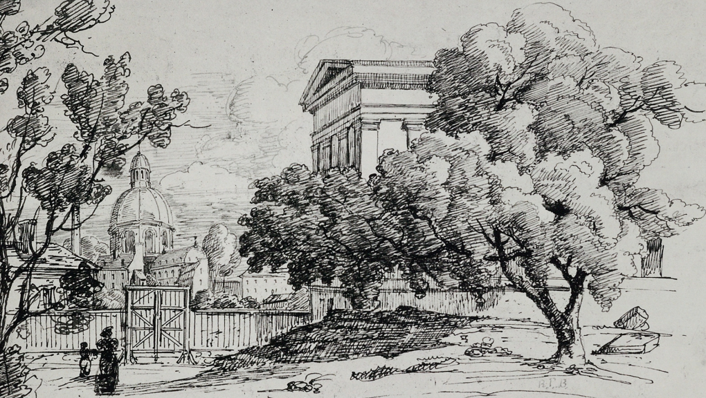 Extérieur galerie façade rue Buffon dessin au fusain, fin XIX-début XX © A. Benard