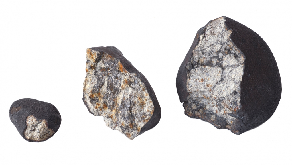 Fragments de la météorite de Tcheliabinsk (Russie, 2013) © MNHN - Jean-Christophe Domenech