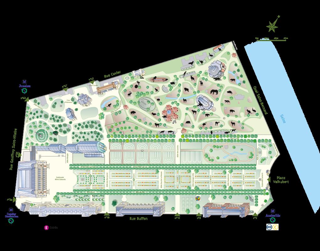 Plan-parcours du Jardin des Plantes 2019 - sans picto © MNHN