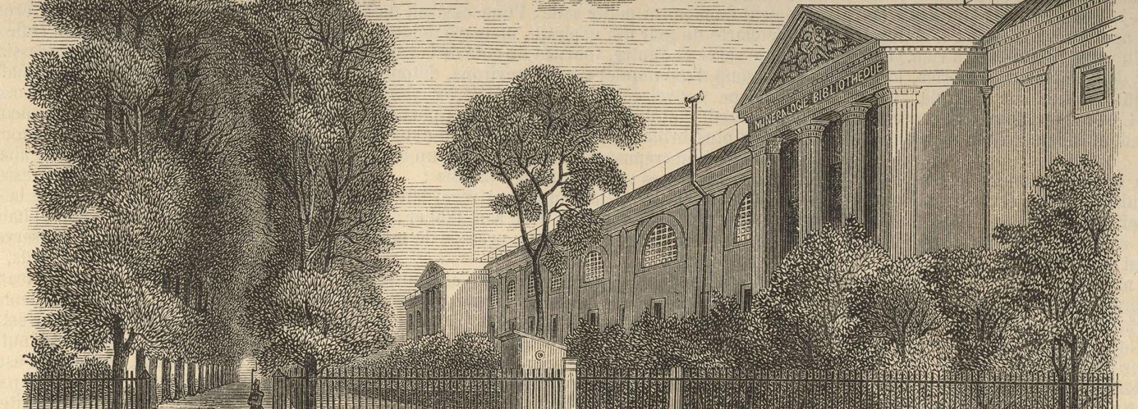 Vue extérieure de la Galerie de Minéralogie en 1855 - Gravure tirée du Journal L'illustration