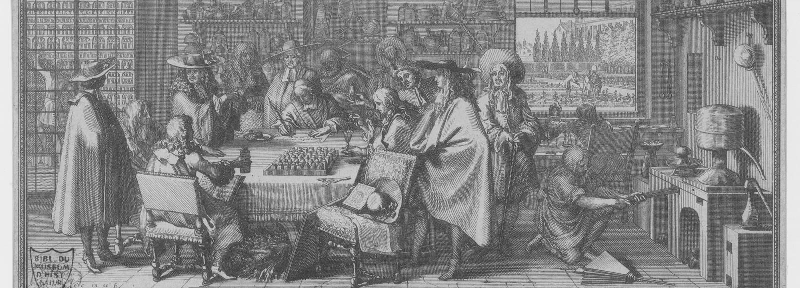The Garden's medicine cabinet and chemistry laboratory (1676) - Sébastien Leclerc (1637-1714) © MNHN - Direction des Bibliothèques