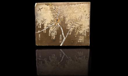« LE CHÂTEAU » calcaire à dendrites (localité inconnue, possiblement Allemagne) — décrite dans L'écriture des pierres, 1970 © MNHN - F. Farges