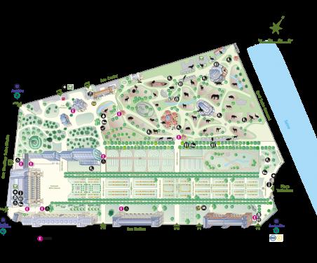 Plan-parcours du Jardin des Plantes 2019 - avec picto © MNHN