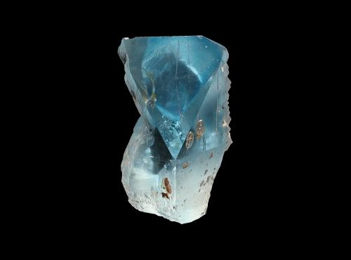 Cristal de Topaze d'une couleur naturelle bleue (N° 190.23) © MNHN - Louis-Dominique Bayle