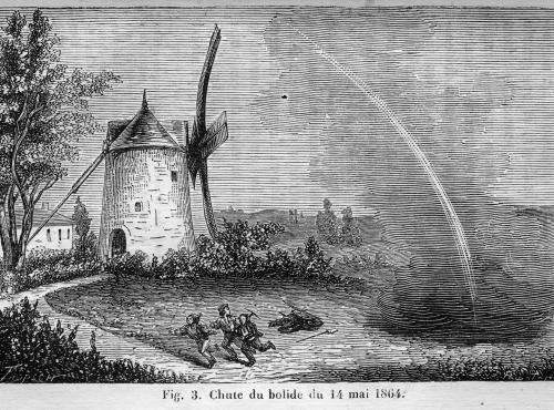 Représentation (gravure) de la chute de la météorite d'Orgueil, en 1864 - CCO