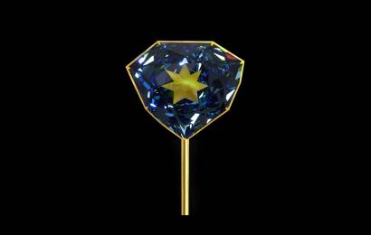 Recréation exacte du grand diamant bleu de Louis XVI © MNHN - François Farges
