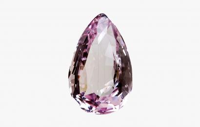 Cristal gemme rose pâle de Spodumène, de variété kunzite, taillé en goutte (N° 112.784) © MNHN - Alain Dahmane