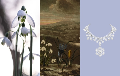 Calendrier floral - Janvier : les perce-neiges © MNHN / Collection Van Cleef & Arpels