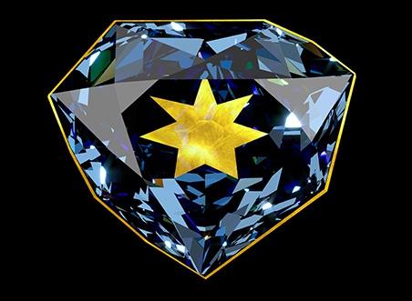 Diamant bleu retaillé serti d'or © MNHN - François Farges