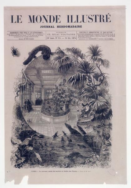 Nouveau palais des reptiles au Jardin des Plantes. Dessin de M. Scott, Le Monde illustré, 1874 © MNHN – Bibliothèque centrale