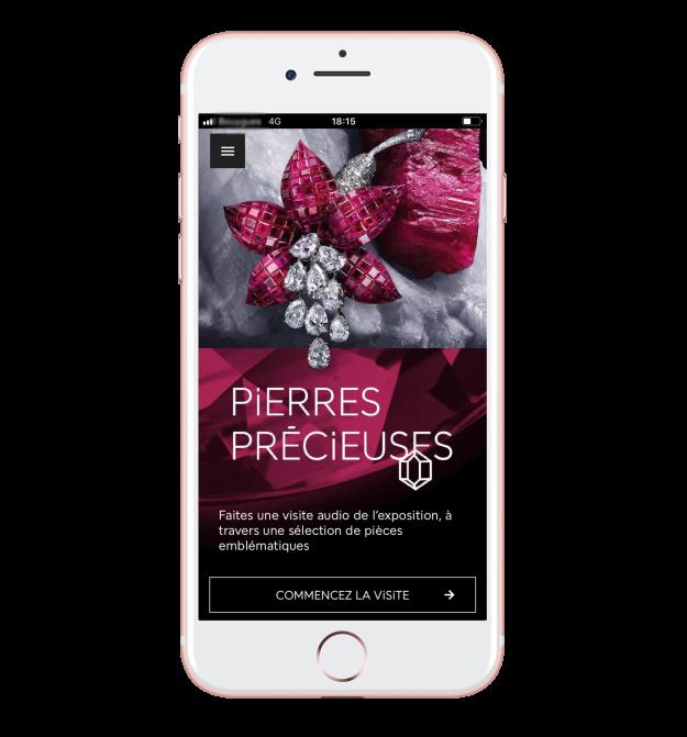 Exposition Pierres précieuses - Web-application mobile, audioguide de visite © MNHN - Van Cleef & Arpels